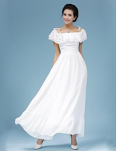 Damen Kleid-Swing Street Schick Solide Maxi Polyester Bateau