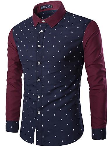 Herren Hemd-Punkte Freizeit / Büro / Formal Baumwolle Lang Blau / Weiß