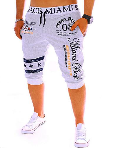 hesapli Erkek Pantolonları ve Şortları-Erkek Actif / Temel Spor Hafta sonu Salaş / Eşoğman Altı / Şortlar Pantolon - Harf Desen Siyah Gri Mavi L XL XXL