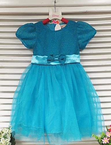Baby Mädchen Spitze Solide Kurzarm Kleid