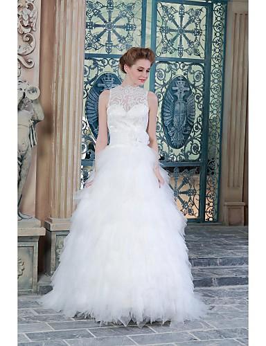 A-line Brautkleid durchsichtigen Boden-Länge hohen Hals Satin mit Applikationen
