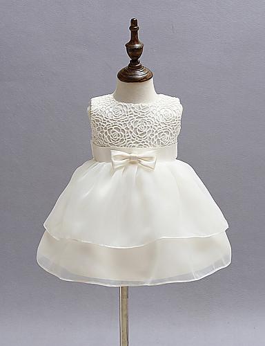 bébé Robe Fille de Soirée Couleur Pleine Polyester Eté Sans Manches Habillement Noeud Blanc