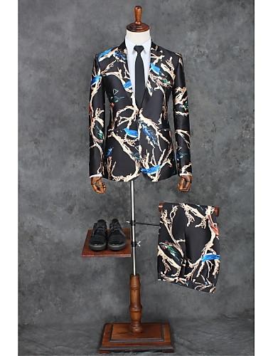 Schwarz Muster Reguläre Passform Polyester Anzug - Steigendes Revers Einreiher - 1 Knopf