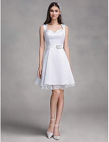 A-Line Queen Anne Knee Length Satin Made-To-Measure Wedding Dresses with Lace by LAN TING BRIDE® / Little White Dress
