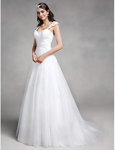 abordables Vestidos de Novia-Corte en A Escote Corazón Corte Encaje / Tul Vestidos de novia hechos a medida con Apliques / En Cruz por LAN TING BRIDE®