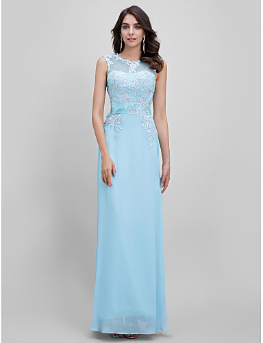 A-Line Illusion Neck Floor Length Chiffon Formal Evening Dress with Appliques by TS Couture® / Lace Up