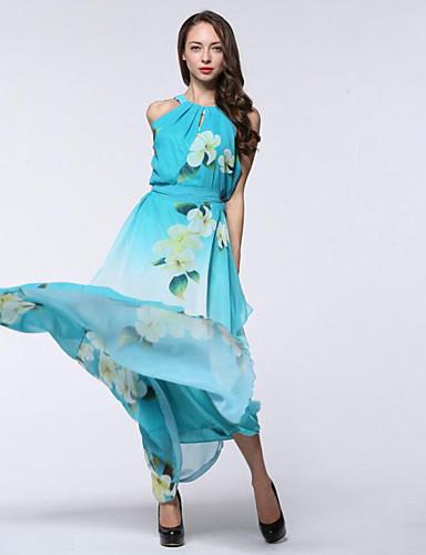 Feminino Chifon balanço Vestido,Feriado Tamanhos Grandes Boho Estampado Decote Redondo Longo Sem Manga Poliéster Verão Cintura Alta