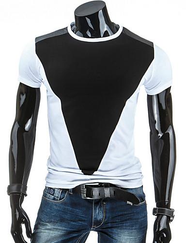 Tee-Shirt Pour des hommes Mosaïque Décontracté / Sport Manches Courtes Coton Noir / Gris