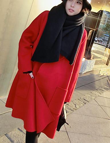 Mulheres Casaco Casual Moda de Rua Inverno,Sólido Vermelho Lã Colarinho de Camisa-Manga Longa Grossa