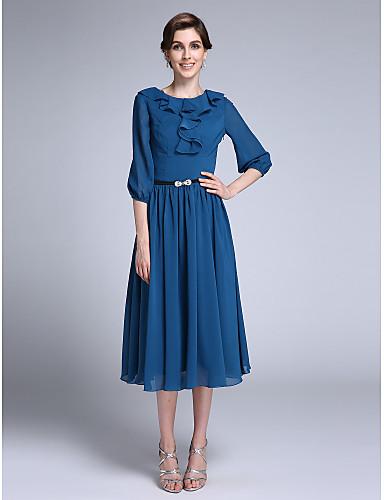 Ίσια Γραμμή Με Κόσμημα Κάτω από το γόνατο Σιφόν Φόρεμα Μητέρας της Νύφης - Ζώνη / Κορδέλα Βολάν με LAN TING BRIDE®