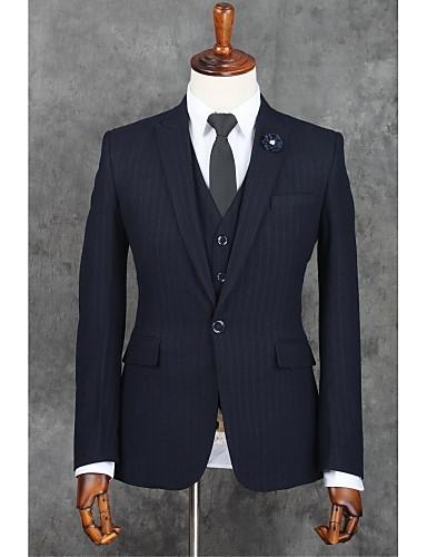 Dunkelblau Streifen Schlanke Passform Polyester Anzug - Fallendes Revers Einreiher - 1 Knopf