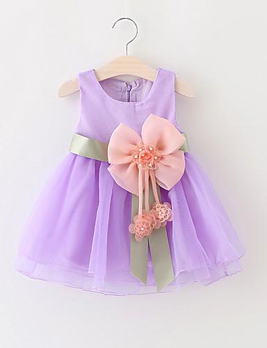 Baby Mädchen Kleid Party Solide Baumwolle Polyester Sommer Ärmellos Zum Kleid Schleife Gelb Rot Grün Blau Rosa