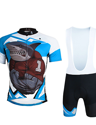 cheap Cycling Clothing-ILPALADINO Men's Short Sleeve Cycling Jersey with Bib Shorts - Black Bike Bib Shorts Jersey Clothing Suit Breathable 3D Pad Quick Dry Ultraviolet Resistant Reflective Strips Sports Lycra Shark