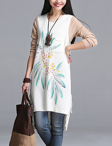 Mulheres Tricô Vestido,Casual Moda de Rua Estampado Decote Redondo Acima do Joelho Sem Manga Azul / Branco / Laranja Acrílico / Elastano