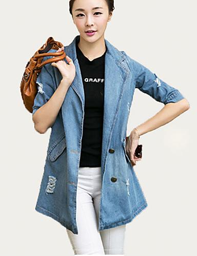 Mulheres Jaquetas Jeans Casual Moda de Rua Verão,Estampado Azul PoliésterMeia Manga Média