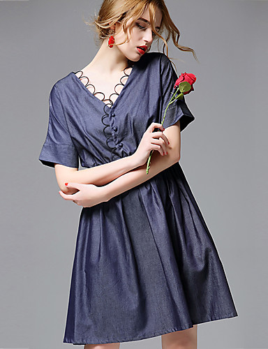 AFOLD® Damen V-Ausschnitt Kurze Ärmel Knielänge Kleid-5689