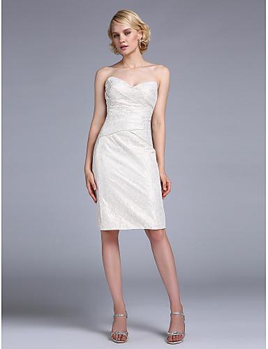 Sütun Kalp Yaka Diz Boyu Dantelalar Düğme / Haç ile Kokteyl Partisi / Tatil Elbise tarafından TS Couture®