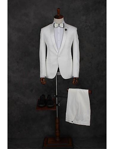 Weiß Solide Reguläre Passform Polyester Anzug - Fallendes Revers Einreiher - 1 Knopf