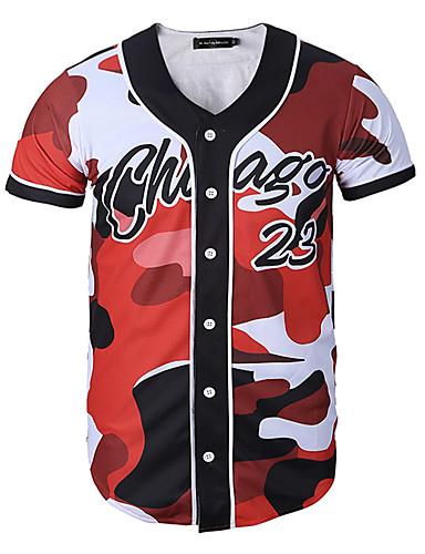 cheap Men's Tees & Tank Tops-Men's Daily Sports Formal T-shirt - Camo / Camouflage / Letter Print Red XL / Short Sleeve / Work