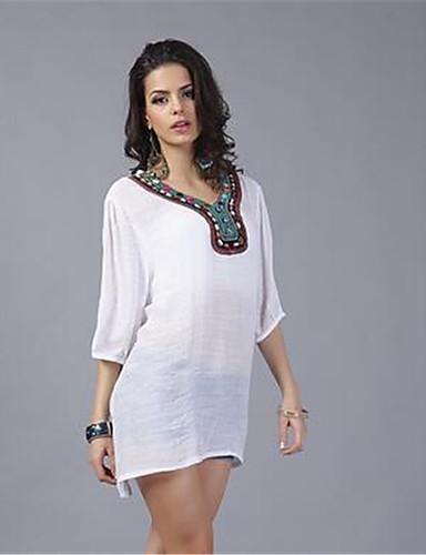 In Colour Femme Col Ras du Cou 1/2 Longueur de manches Shirt et Chemisier Blanc / Rouge-42194734744