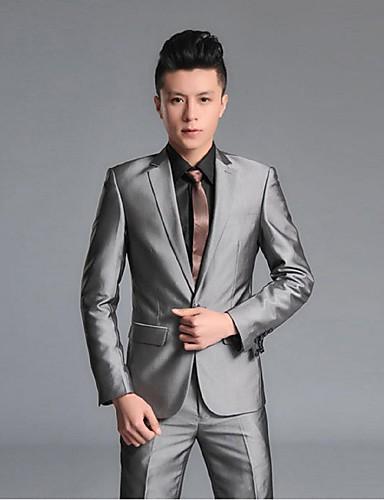 Schwarz Grau Solide Schlanke Passform Polyester / Rayon (T / R) Anzug - Fallendes Revers Einreiher - 1 Knopf