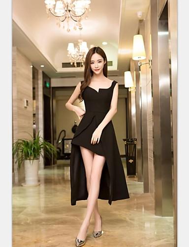Cocktailpartykleid - kleines schwarzes Kleid a-line Riemen asymmetrisches Chiffon mit Splitfront
