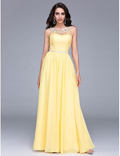Eng anliegend Illusionsausschnitt Boden-Länge Chiffon Abiball / Formeller Abend Kleid mit Perlenstickerei durch TS Couture®