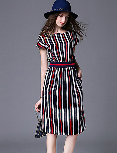 Maxlindy Women's Vintage Sophisticated Street chic Boho A Line Dress - Striped