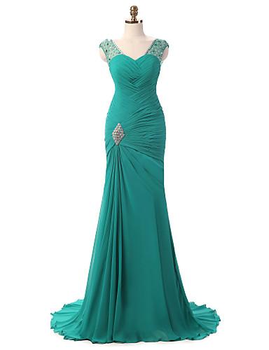 Sereia Decote V Cauda Corte Chiffon Evento Formal Vestido com Pregas Broche de Cristal Drapeado Lateral de Shang Shang Xi