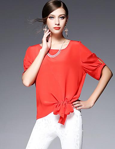 AFOLD® 女性 ラウンドネック ショート シャツ&ブラウス ブラウン / アイボリー / オレンジ / シルバー / グレー / 白 / シアン-5580