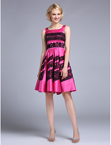 A-Line Square Neck Knee Length Satin Homecoming Prom Dress with Lace by TS Couture®