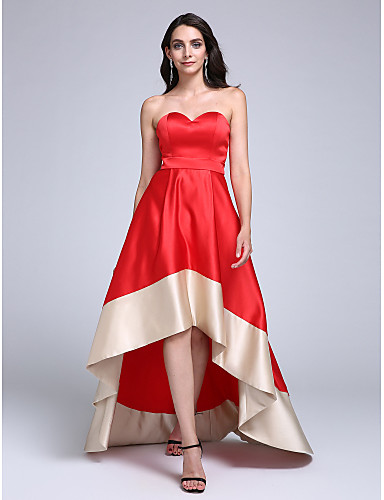 A-Line Sweetheart Asymmetrical Stretch Satin Prom Formal Evening Dress with Sash / Ribbon by TS Couture®