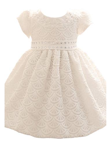 bébé Robe Fille de Soirée Fleur Polyester Toutes les Saisons Manches courtes Noeud Habillement Blanc Beige