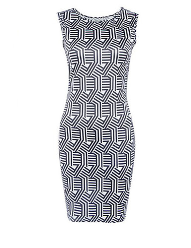 Kroppstett Kjole Kjole Ut på byen Vintage Gatemote Dame,Trykt mønster Rund hals Mini Ermeløs Sort Polyester Sommer Mellomhøyt liv