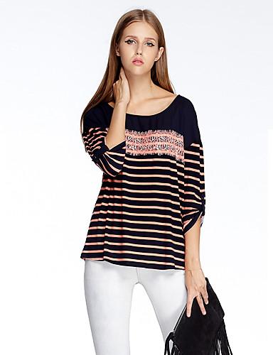 sydän Soul® Naisten Pyöreä kaula-aukko 3/4 hiha T-paita Ruskea  / Oranssi / Hopea -11AA24689