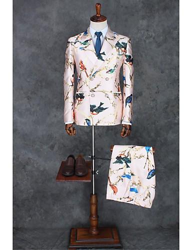 billiga Brudgum och marskalkar-Rosa Mönster Smal passform Polyester Kostym - Smalt trubbig Double Breasted Two-button / Mönster / tryck