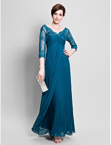 A-Line V Neck Floor Length Chiffon Mother of the Bride Dress with Beading / Lace by LAN TING BRIDE®