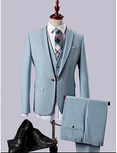 Himmelblau Solide Schlanke Passform Polyester / Rayon (T / R) Anzug - Fallendes Revers Einreiher - 1 Knopf
