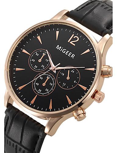 Herrn Armbanduhr Armbanduhren für den Alltag / Cool Leder Band Modisch Schwarz / SSUO LR626