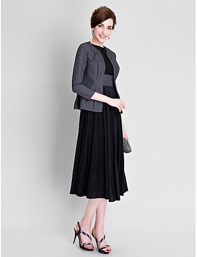 A-linje Besmykket Telang Polyester / Jersey Kjole til brudens mor med Belte / bånd / Plissert av LAN TING BRIDE®