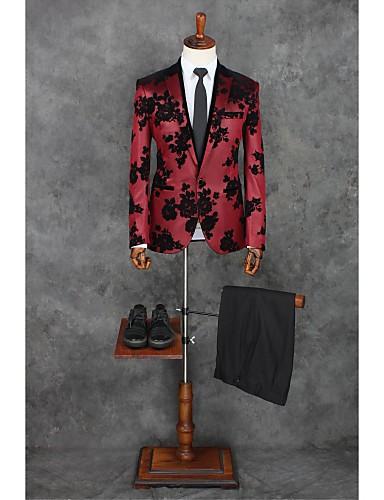 Rot Muster Reguläre Passform Polyester Anzug - Steigendes Revers Einreiher - 1 Knopf