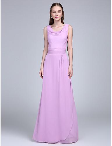 Ίσια Γραμμή Ντραπέ Μακρύ Σιφόν Φόρεμα Παρανύμφων με Ζώνη / Κορδέλα Πλισέ με LAN TING BRIDE®