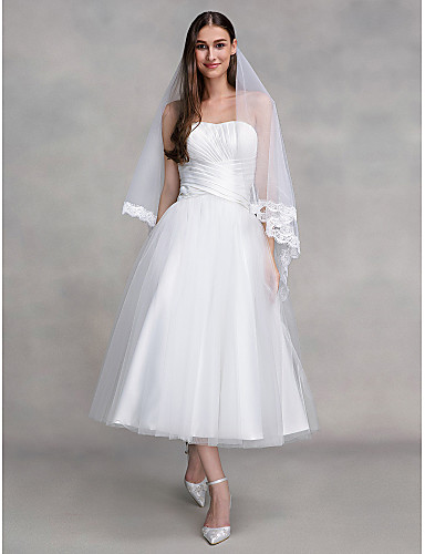 Corte en A Sin Tirantes Hasta el Tobillo Tul Vestidos de novia hechos a medida con En Cruz por LAN TING BRIDE® / Vestidos Blancos
