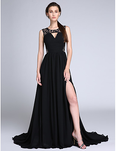 cheap Evening Dresses-A-Line Jewel Neck Court Train Chiffon / Lace Cut Out Formal Evening Dress with Ruched / Lace Insert by TS Couture®