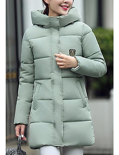 Langærmet Normal Dunjakke Dame Frakke,Simpel I-byen-tøj Ensfarvet-Polyester Polypropylen Hætte Rød Hvid Sort Grå Grøn