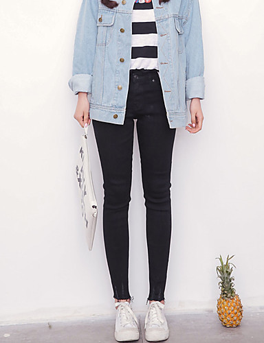 Kvinders Simpel Jeans / Tætsiddende Bukser Mikroelastisk Bomuld