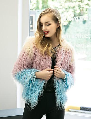 Dame Farveblok Vintage Ferie / I-byen-tøj Pelsfrakke