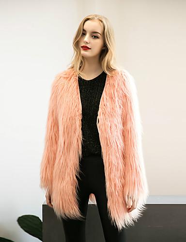 Damen Solide Retro Einkauf Arbeitskleidung Verabredung Freizeitskleidung Lang Pelzmantel, V-Ausschnitt Herbst Polyester Nylon Andere