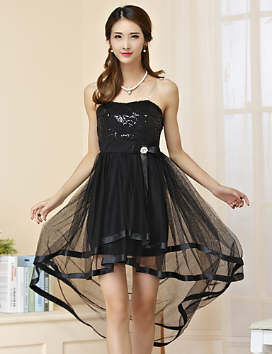 Cocktail party kjole - lille sort kjole a-line stropløs asymmetrisk tyll polyester med sæk / bånd paljetter