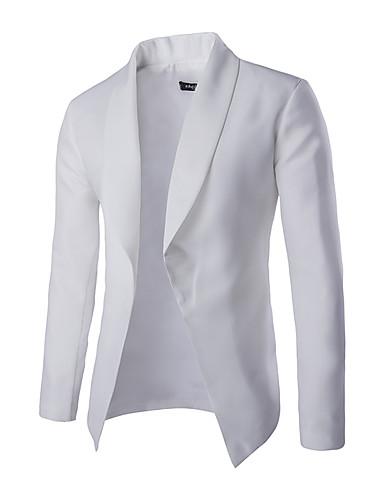 Langærmet Ensfarvet Mænds Formelt / Plusstørrelse Blazer Bomuld / Polyester Sort / Hvid